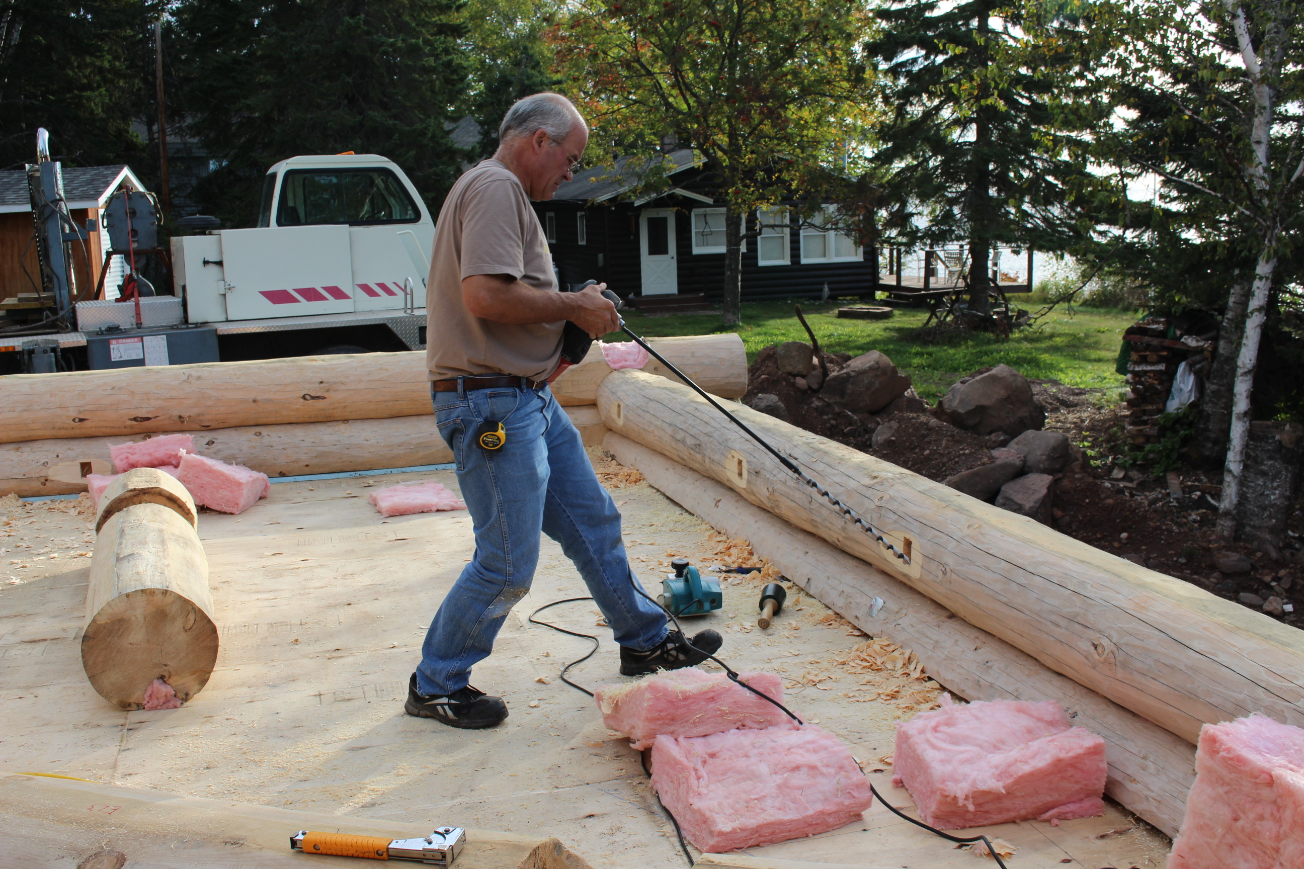 Cross River Andersen Log Homes Co Basement Wiringhomevisioedit71111jpg Drilling Electrical Opening To The